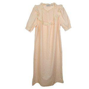 Vtg Cottagecore Night Gown Sleep Dress M Pink